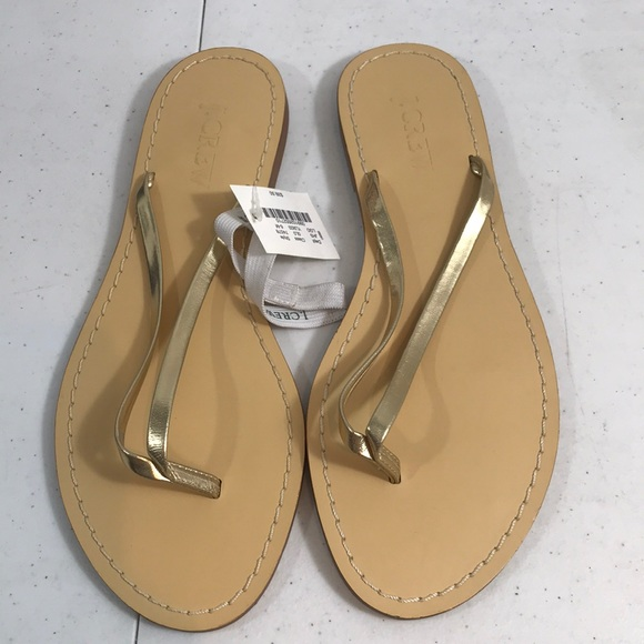 f938cb9c6d089c J.crew women s size 6M thong flip flops gold